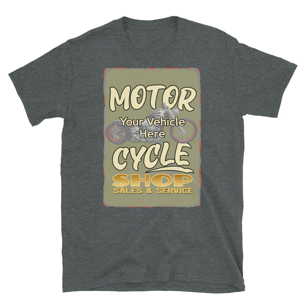 Motorcycle Shop Personalized Short Sleeve T-Shirt