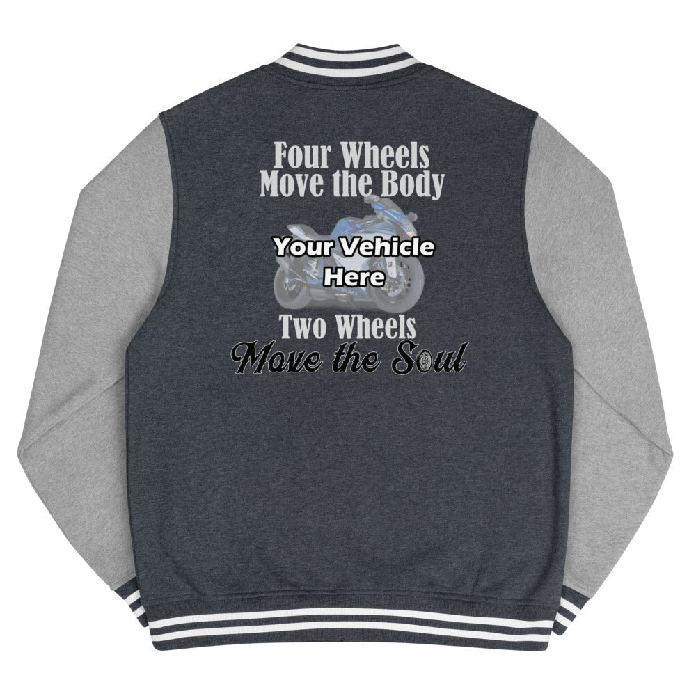 Two Wheels Move The Soul Personalized Men's Letterman Jacket