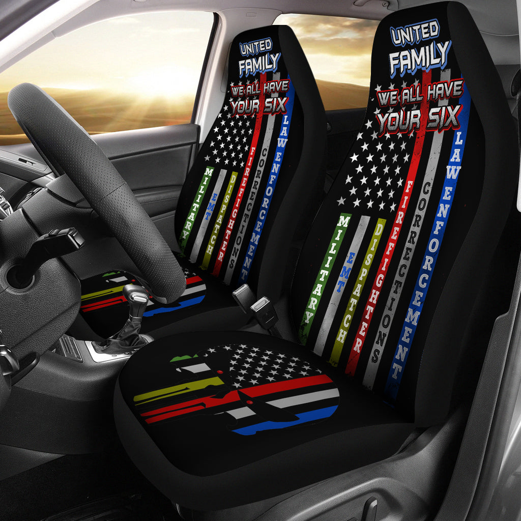 United Family: We All Have Your Six Universal Car Seat Covers (Pair)