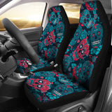 Red & Blue Sugar Skulls Universal Car Seat Covers (Pair)