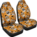 Orange Sugar Skulls Universal Car Seat Covers (Pair)