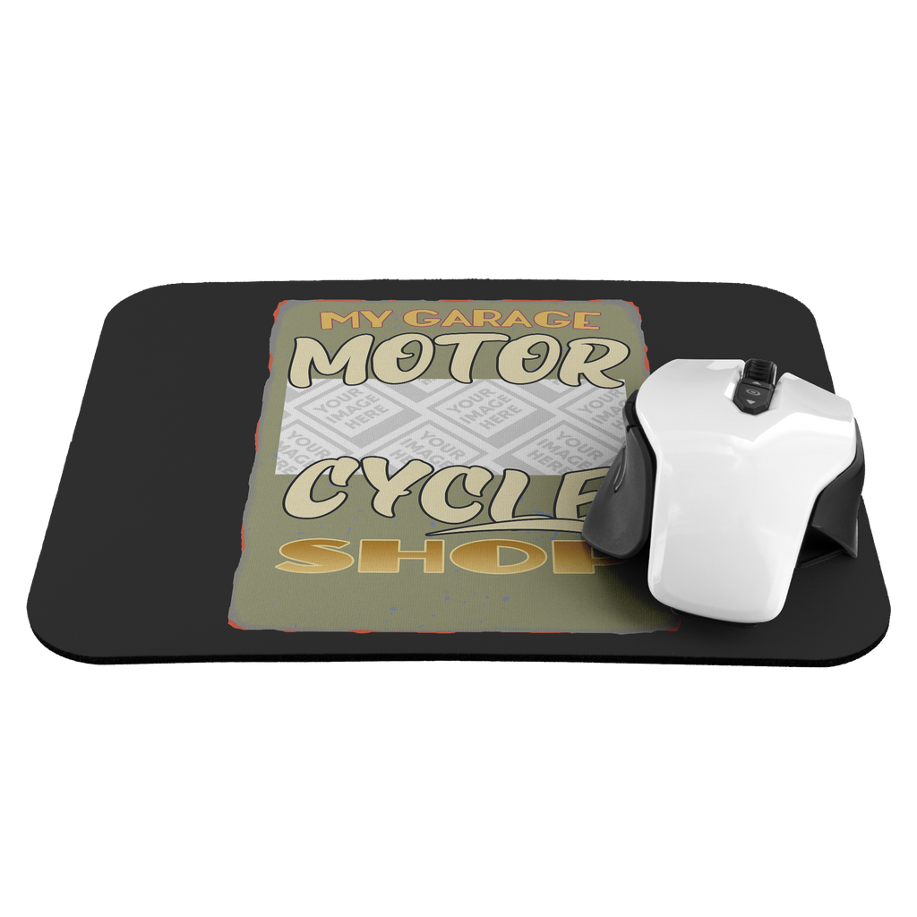 My Garage Motorcycle Shop Custom Personalized Mousepad