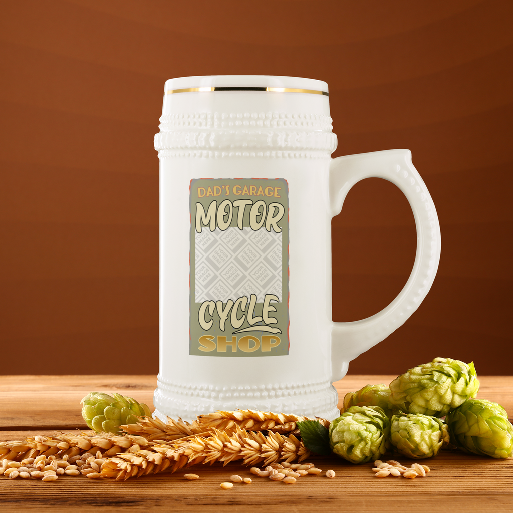 Dad's Garage Motorcycle Shop Custom Personalized Beer Stein