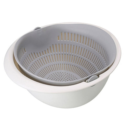 Image of Double Layer Rotating Draining Basket