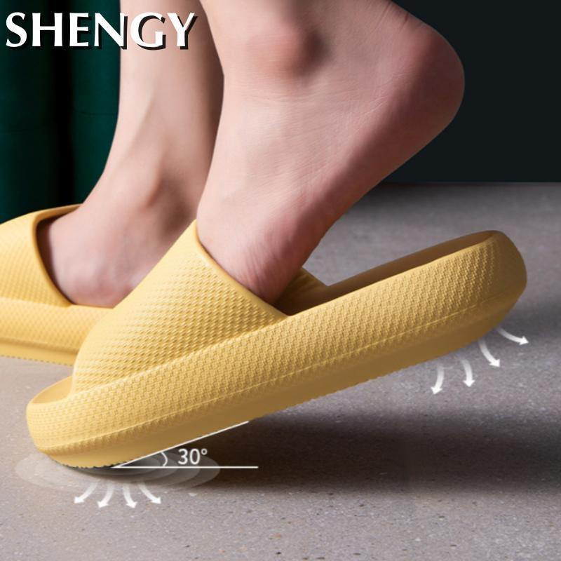 Unisex Slippers Indoor Bathroom Non-Slip Bathroom Bath Slippers Quick-Drying Home Thick Soft Comfortable Sandals Women Sliders