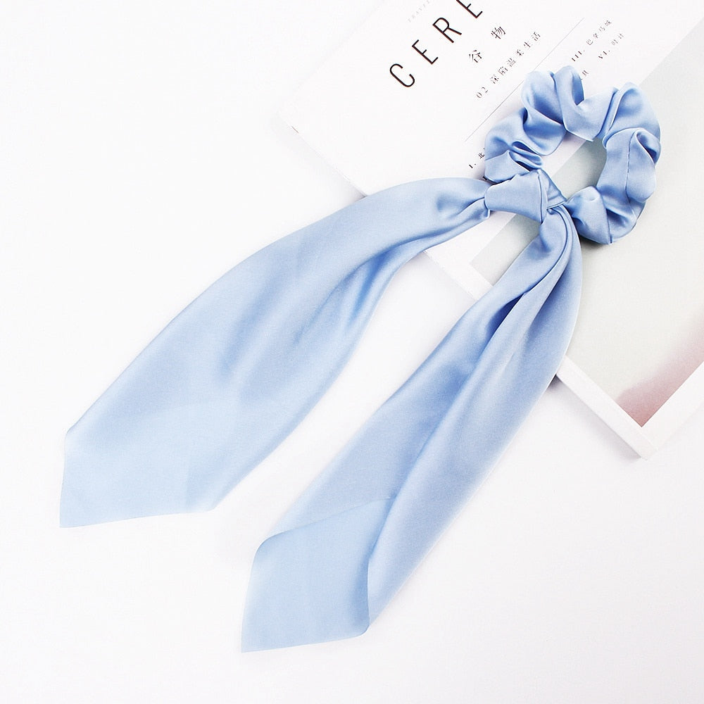 Floral Satin Scrunchies Women Elastic Hair Bands Ties Scarf Woman Scrunchy Hairbands Turban Head Wrap Hair Accessories Headwear