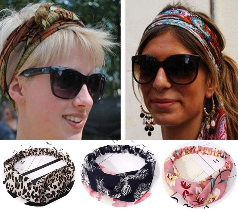 Ins Fashion Women Retro Style Hairband floral Print Headband Cross Knot headband Bandage Summer Head Bandanas n Sweet Hair Bands