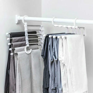 Multi-function Pants Hanger 5 Tier Portable Stainless Steel Pants Racks Trousers Hanger Clothing Storage Organization