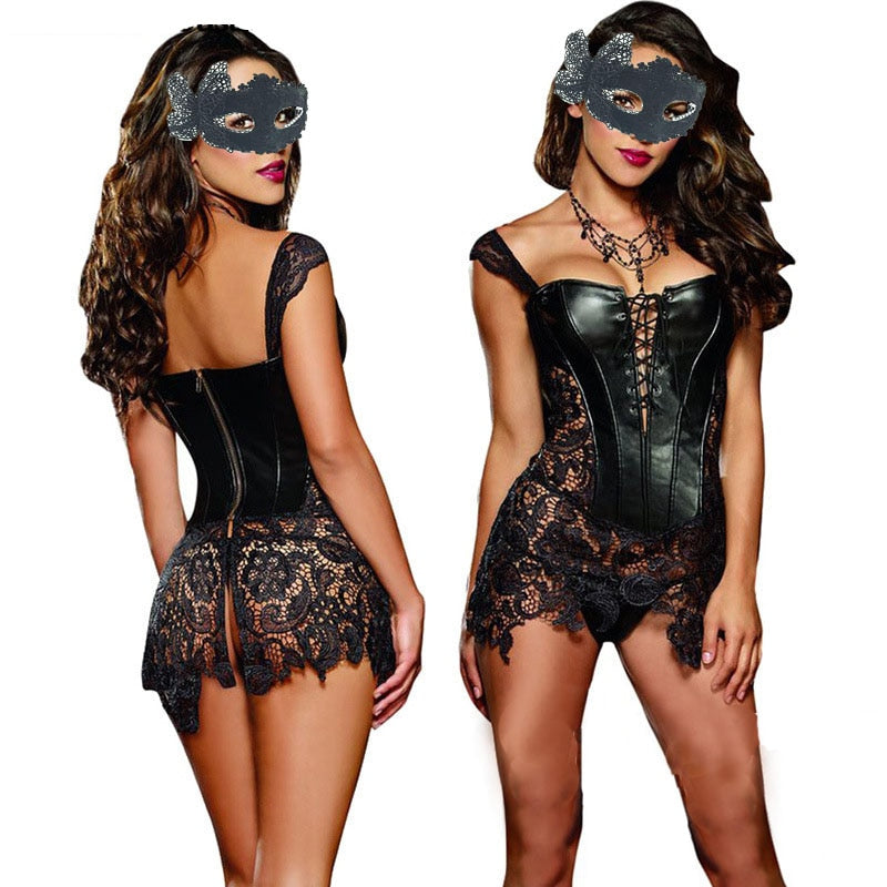 Sexy Lingerie with G-string Sets Women Faux Leather&Lace Burlesque Steampunk Corset Set Waist Gothic Bustier Corpet Plus Size - GEMS Express L.L.C.