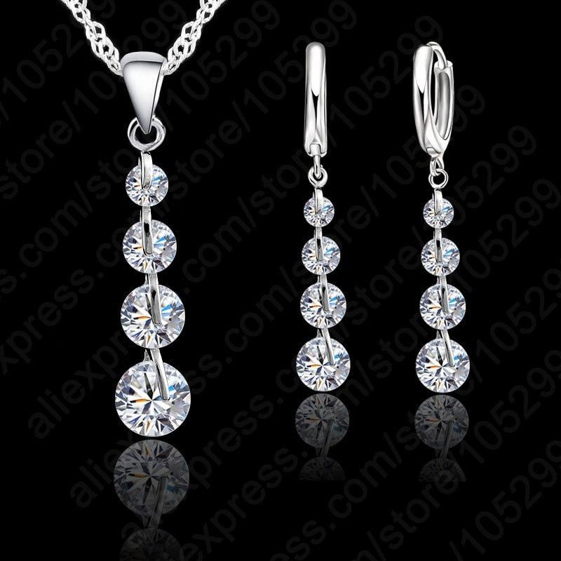 Romantic 925 Sterling Silver Link Chain Crystal  Pendant Jewelry Set - GEMS Express L.L.C.
