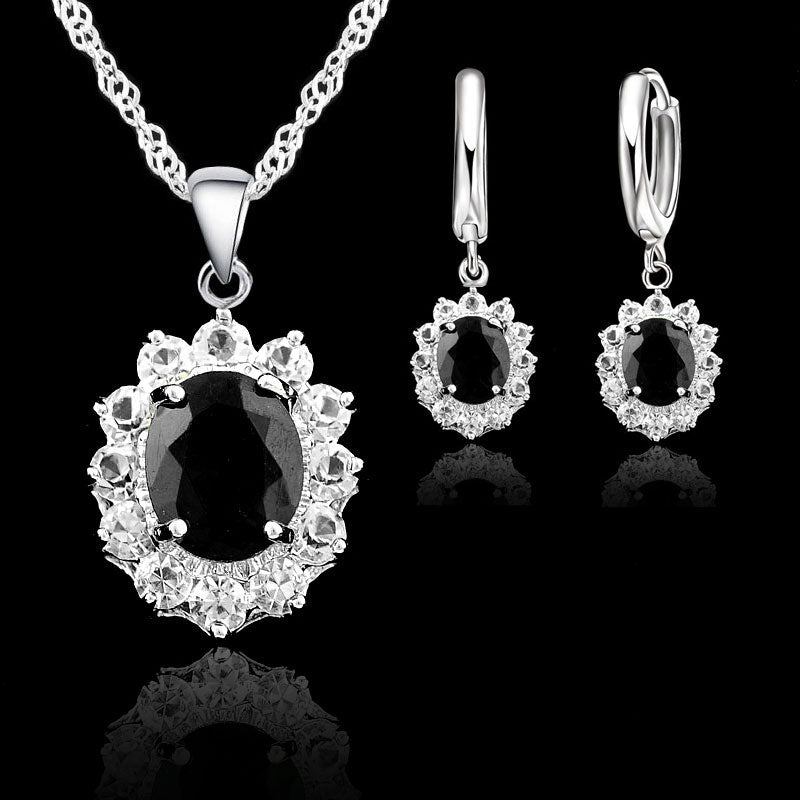 925 Sterling Silver Jewelry Sets For Women Black Oval Cubic Zirconia Stones - GEMS Express L.L.C.