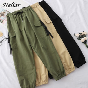 Heliar Autumn Cargo Pants Englend Style Loose Elastic Buttom Trouser Female Long Pants For Women 2019 Women Trouser With Pocket - GEMS Express L.L.C.