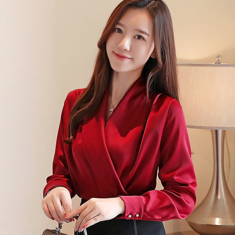 Autumn Korean Fashion Silk Women Blouses Satin Solid Womens Tops and Blouses Plus Size XXL Pink Long Sleeve Women Shirts
