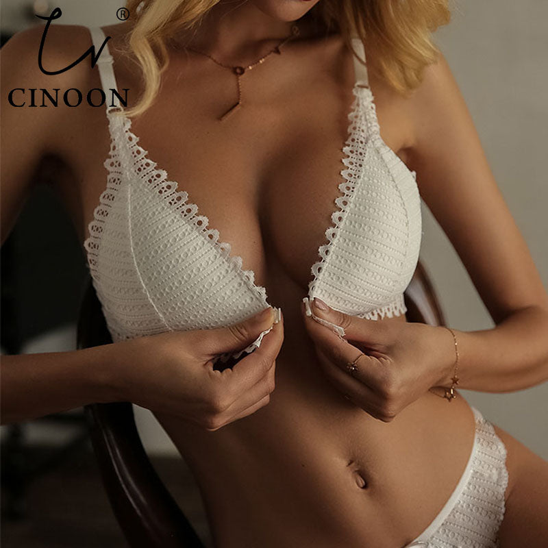 CINOON French Lace Front Closure Bra And Panties Set Women Sexy Lingerie Set - GEMS Express L.L.C.