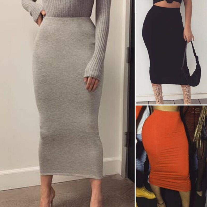 Office Pencil Skirt Stretch Women Bodycon Tube Womens Ladies Plain Plus Size Long Skirts 2019 Autumn Spring Stretchy Maxi Skirt