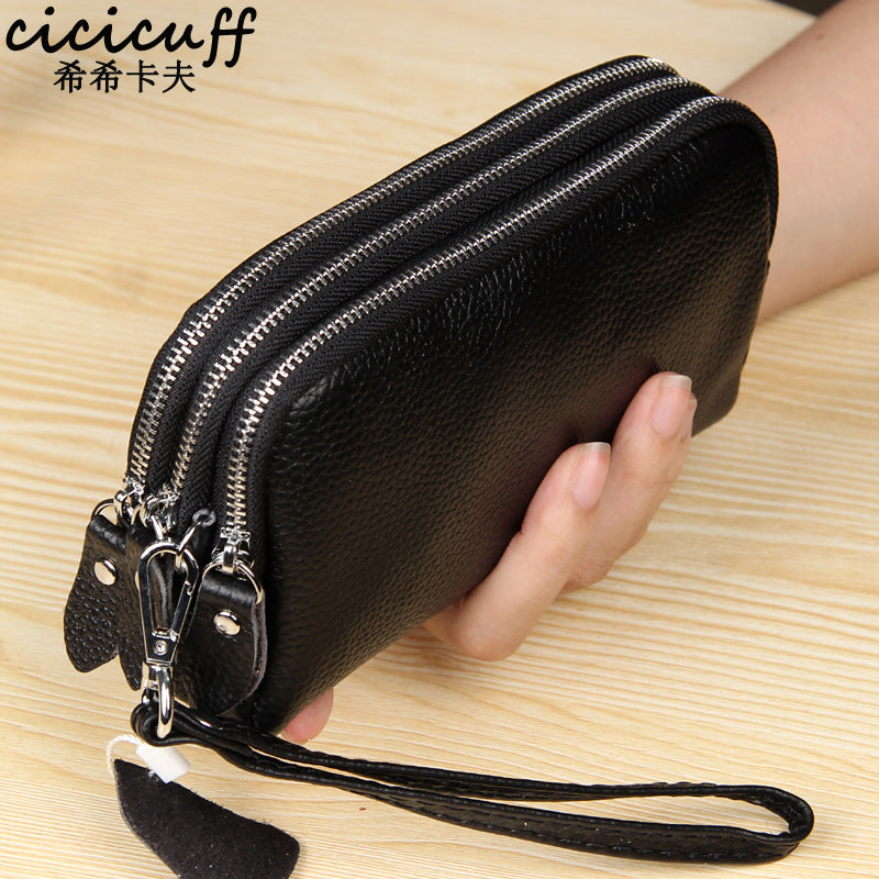 CICICUFF Genuine Leather Women Wallet Large Capacity Three Layers Zipper Cellphone Pouch Coin Purse Female Wrist Bag Clutch New - GEMS Express L.L.C.