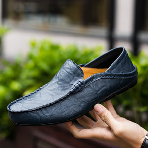 Italian Mens Shoes Casual Luxury Brand Summer Men Loafers Genuine Leather Moccasins Light Breathable Slip on Boat Shoes 37-47 - GEMS Express L.L.C.