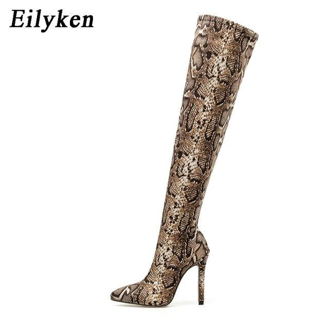 Eilyken Women Fashion Over the Knee Boots Snake grain High Boots Pointed Toe Zipper Thin High Heels Boots Shoes 2021 Winter - GEMS Express L.L.C.