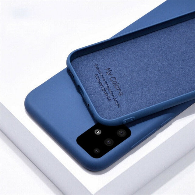 For Samsung A50 A70 A51 A71 S8 S9 S10E S20 Plus Liquid Silicone Soft Case Cover For Galaxy Note 8 9 10 Plus A20 A30 A40 S7 Edge