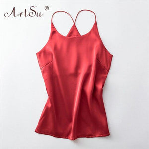 ArtSu S-XXXL Plus Size Spaghetti Strap Top Women Halter Basic Cami Sleeveless Satin Silk Tank Tops Summer Camisole 2020 Crop Top - GEMS Express L.L.C.