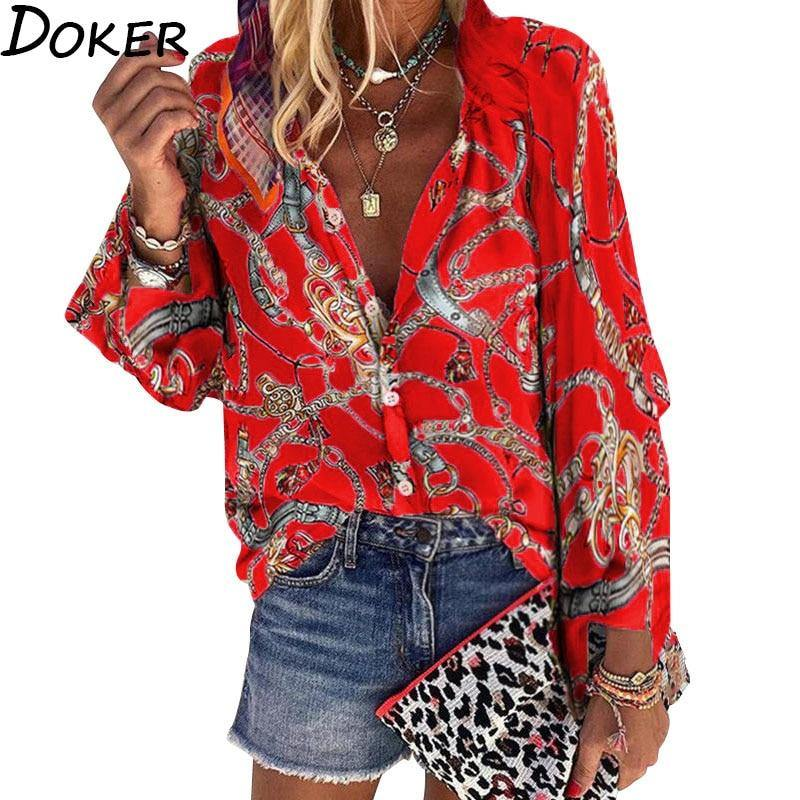 2020 New Design Plus Size Women Blouse V-neck Long Sleeve Chains Print Loose casual Shirts Womens Tops And Blouses