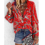 2020 New Design Plus Size Women Blouse V-neck Long Sleeve Chains Print Loose casual Shirts Womens Tops And Blouses - GEMS Express L.L.C.