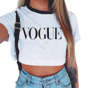 Women's VOGUE Letter Crop Top Short Sleeve T Shirts