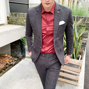Popular men's business and leisure suit two-piece bridegroom's dress banquet suit
