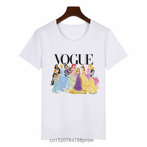 Women Princess Vogue Harajuku Black T Shirt Female Summer Short Sleeve T-shirt Girl Vogue Tops Tee