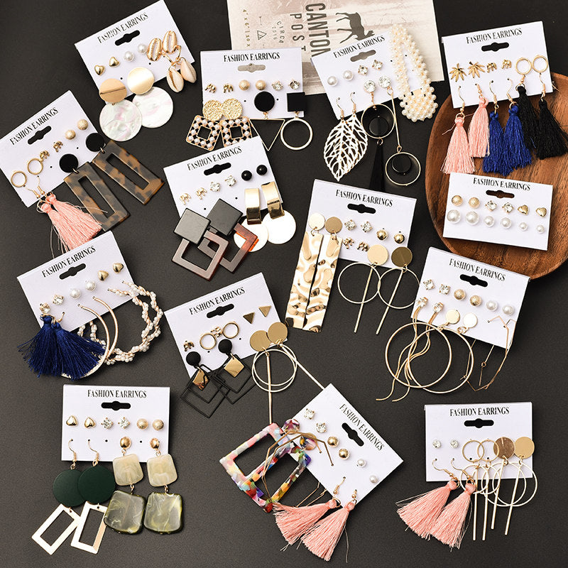 Tassel Acrylic Earrings For Women Bohemian Earrings Set Big Geometric Drop Earring 2020 Pearl Earrings Set DIY Fashion Jewelry