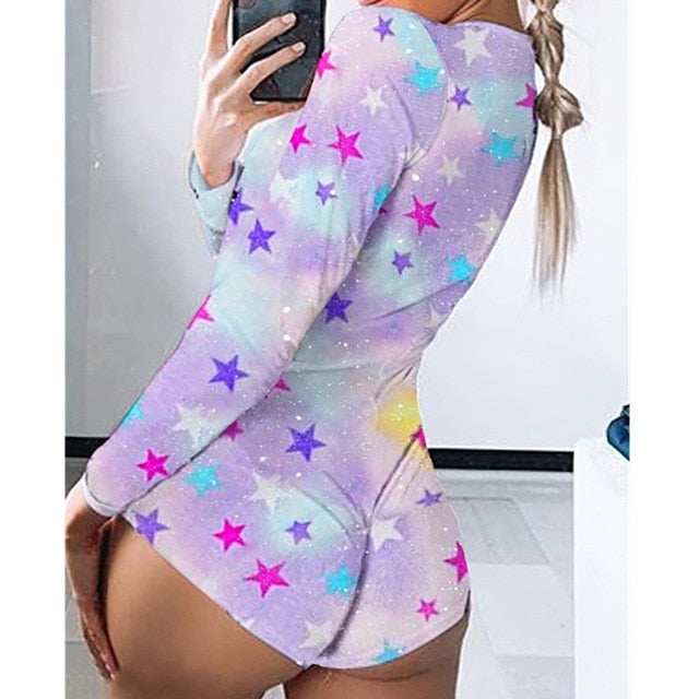 Sexy Women Bodysuit Long Sleeve Deep V Neck