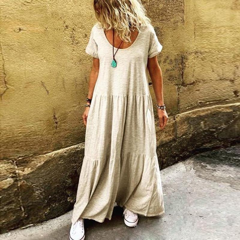 2020 Women Summer Ruffles Party Maxi Dresses Casual O-neck Vestidos Dress Loose Solid Color Pleated Plus Size Sundress 4XL 5XL