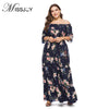 MISSJOY XL-6XL Plus Size Dress Women Sexy Off shoulder Polka Dots Flower Print bohemian Casual party Long Maxi dresses 2018 New