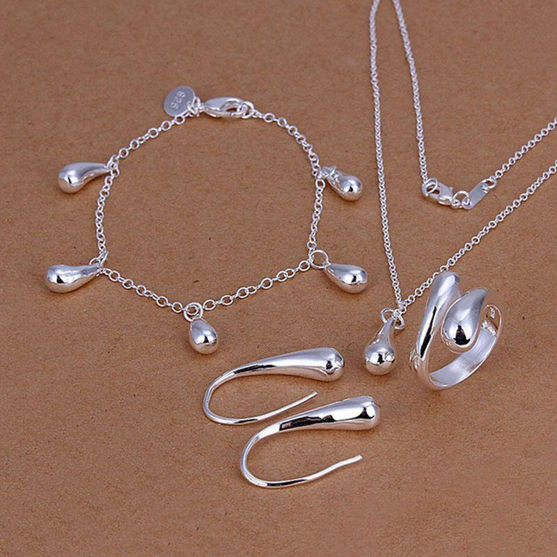 N925-sterling Silver color fashion jewelry drop necklace & bracelet & ring adjustable & earrings ladies jewelry set SS223