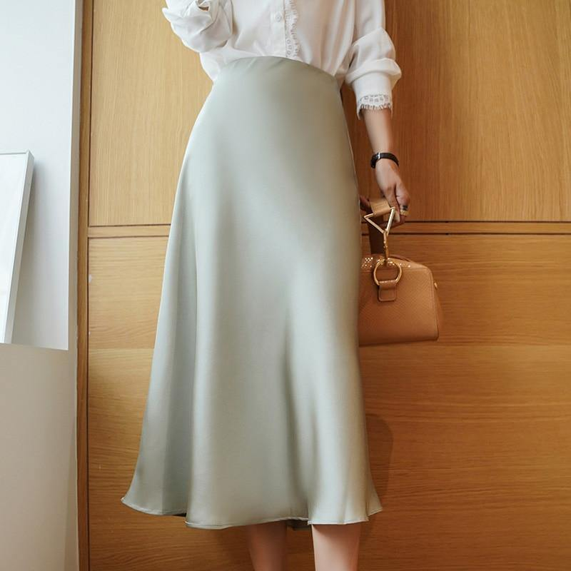 Korean Silk Skirts Womens Satin Skirt Plus Size Woman Midi Long Silk Skirt Woman Solid High Waist Skirts Faldas Mujer Moda 2020