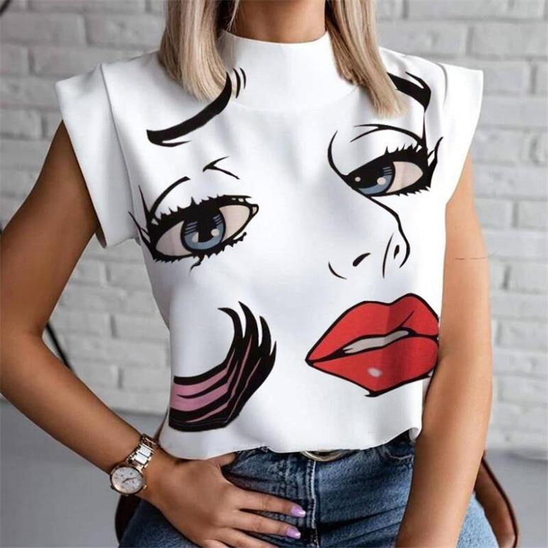 Women Lips Printed T Shirt Ladies Casual Stand Neck Tee Tops Short Sleeve Streetwear Summer Floral Plus Size Pullover T-shirts - GEMS Express L.L.C.