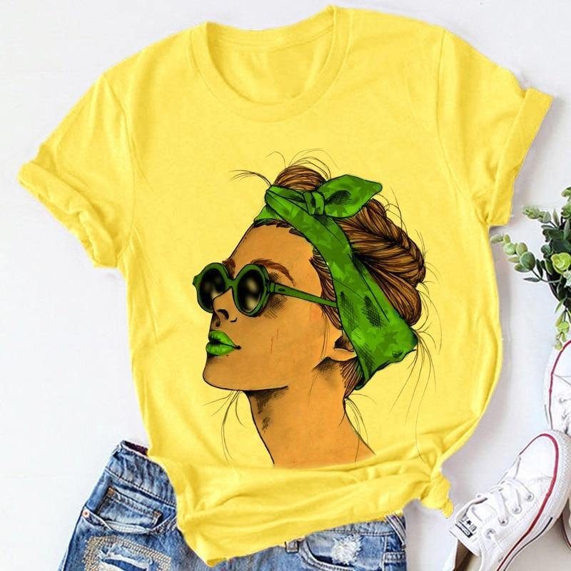 Yellow Plus Size T-shirt Women Summer Vogue Print Lady Casual T Shirt Tops Harajuku Streetwear Short Sleeve O-Neck Tees Tshirt