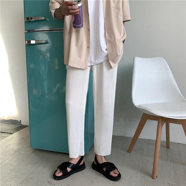 Pleated Straight Pants Men's Fashion Solid Color Elastic Waist Casual Pants Men Streetwear Loose Japanese Ice Silk Trousers Mens - GEMS Express L.L.C.