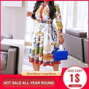 Autumn Fall Lapel Mid-Calf High Waist Dress Big Plus Size