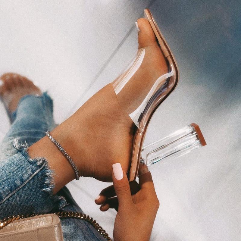 New Women Sandals PVC Jelly Crystal Heel Transparent Women Sexy Clear High Heels Summer Sandals Pumps Shoes Size 41 42