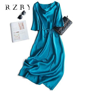 Sexy Silk Spaghetti Half sleeve Lace-up Summer Dress Women Satin Long Dress Elegant Party Dresses Plus Size RZBY098 - GEMS Express L.L.C.