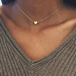 925 Sterling Silver Necklace For Women Heart Shape Pendant Choker Necklace Gold Color Simple Style Fashion Jewelry - GEMS Express L.L.C.