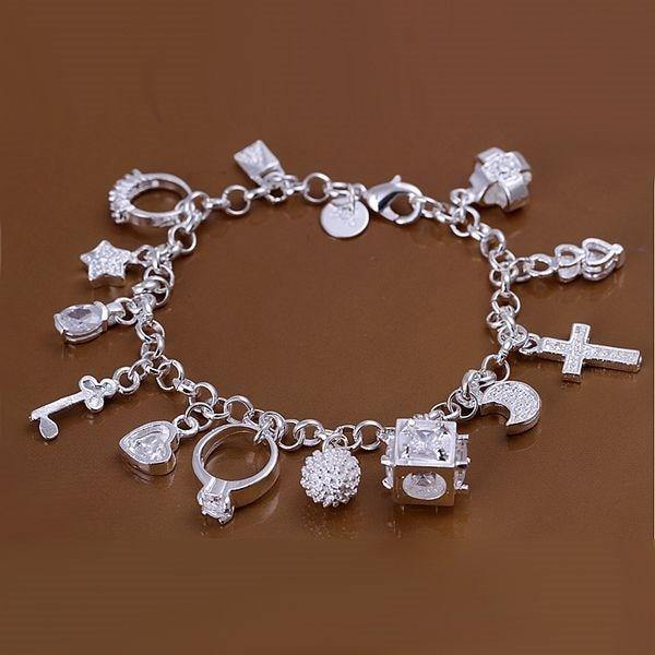 S925 sterling Silver color 13 charms bracelets bracelets  fashion women jewelry  h144