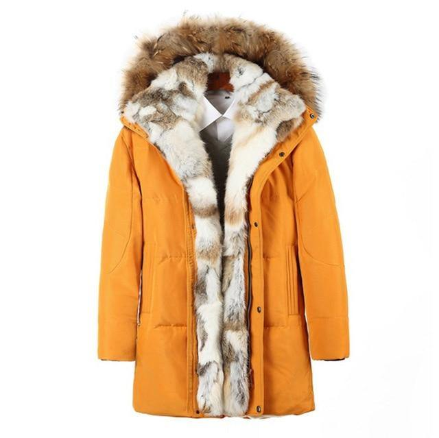 PYJTRL Young Men's And Women's Medium Long Lovers Down Jacket