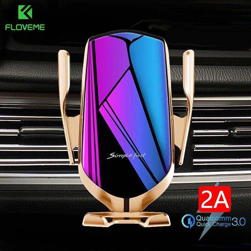 FLOVEME Qi Automatic Clamping 10W Wireless Charger Car Phone Holder Smart Infrared Sensor Air Vent Mount Mobile Phone Stand Hold - GEMS Express L.L.C.