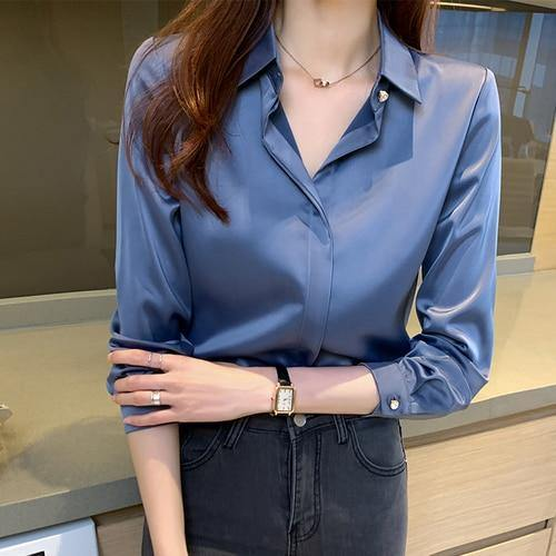 Silk Shirts Women Long Sleeve Shirts Blouses for Women Satin Clothing Shirt Office Lady Solid Silk Shirt Blouse Tops Plus Size - GEMS Express L.L.C.