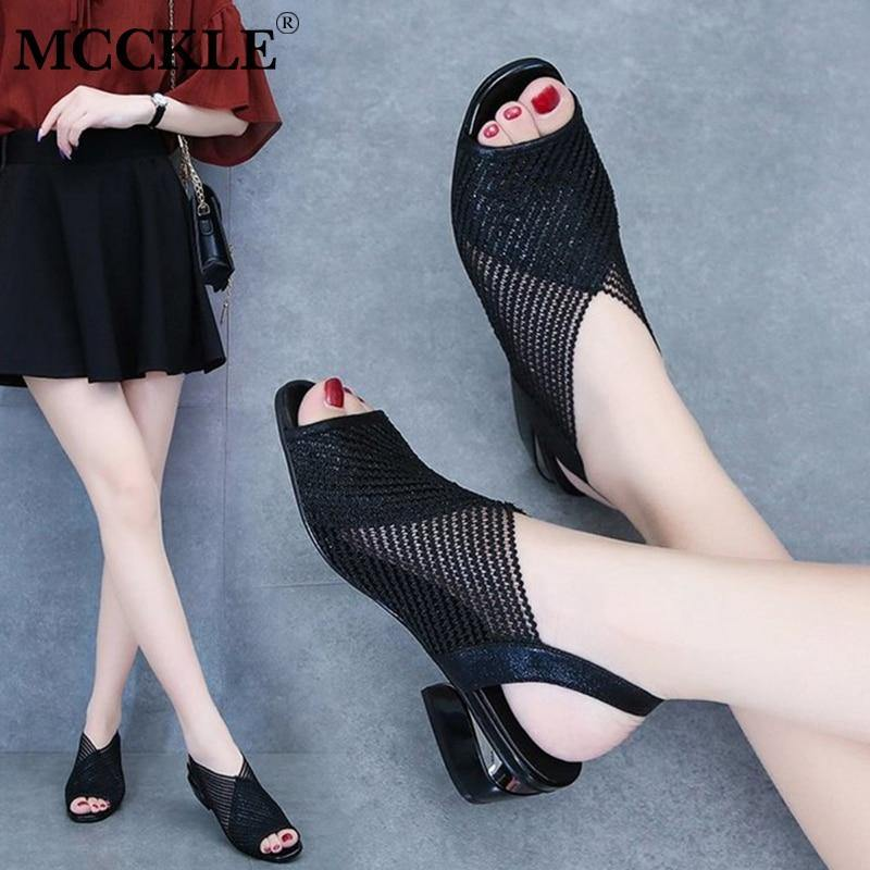 MCCKLE 2021 Women Sandals Fashion Thick Heel Peep Toe Women's Shoes Mesh Breathable Sandals Ladies Plus Size Girls Summer Sandal - GEMS Express L.L.C.