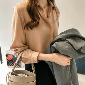 Spring Women 2021 Fashion Blouses Solid Plus Size Female Clothes Loose Shirt Long Sleeve Blouse Simple OL Feminine Blusa 1181 40