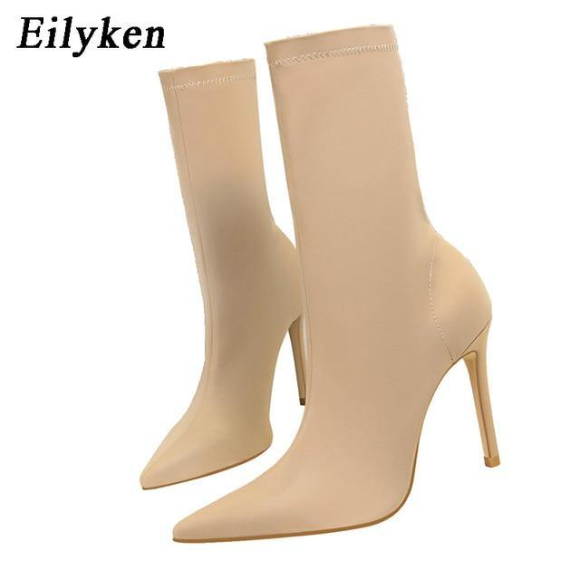 Eilyken 2021 Winter Fashion Women Boots Beige Pointed Toe Elastic Ankle Boots Heels Shoes Autumn Winter Female Socks Boots - GEMS Express L.L.C.