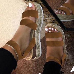 Retro Women Sandals Leopard Hemp Flat Platform Ladies Wedge Women's Shoes Woman Casual Buckle Strap Female Summer 2021 New